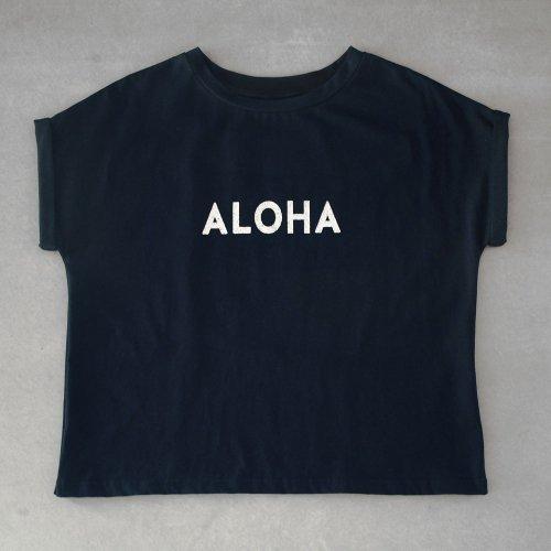 """ターンアップフレンチ カットソー """"ALOHA"""" 黒"""