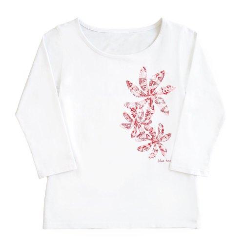 【Sサイズ】七分袖 白色 フラTシャツ ティアレ柄C タパ (赤)