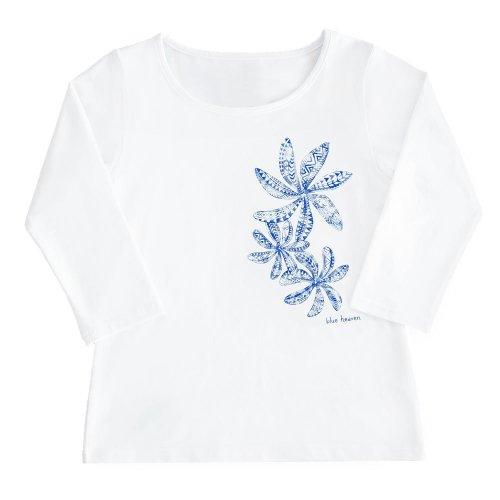 【Sサイズ】七分袖 白色 フラTシャツ ティアレ柄C タパ (青)