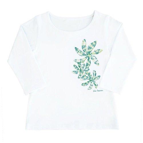 【Sサイズ】七分袖 白色 フラTシャツ ティアレ柄C タパ (緑)