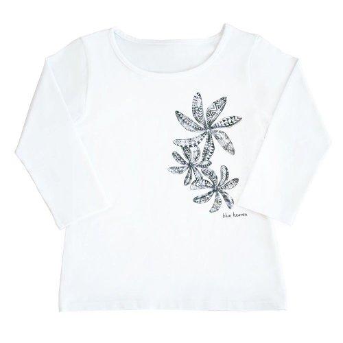 【Sサイズ】七分袖 白色 フラTシャツ ティアレ柄C タパ (黒)