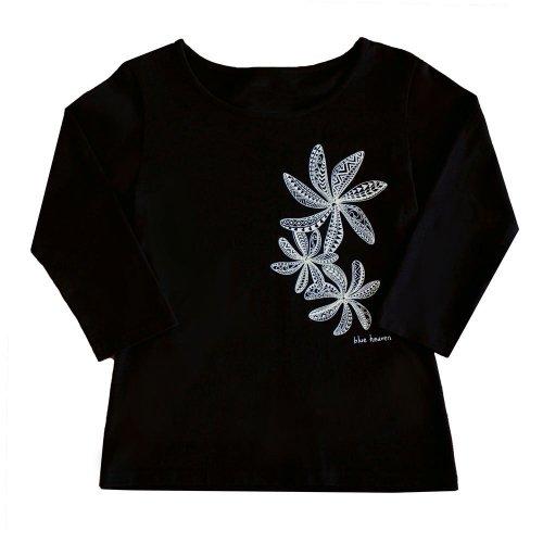 【Sサイズ】七分袖 黒色 フラTシャツ ティアレ柄C タパ (白)