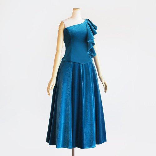 【ベロアのモデルスイート】オータムブルー 肩にフリル+深みと輝きのフレアスカート