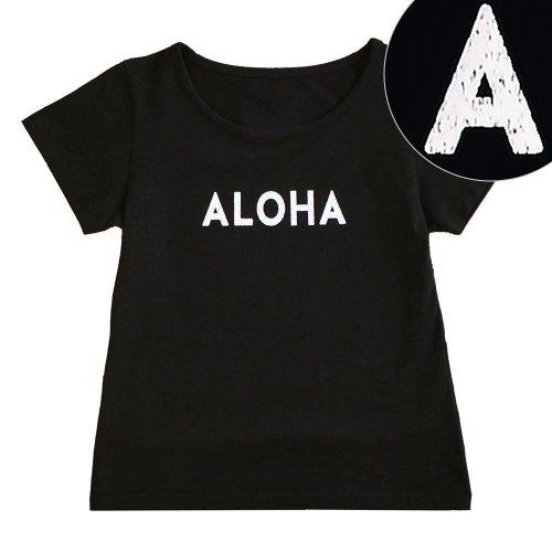 "【Sサイズ】半袖 黒色 フラTシャツ ""ALOHA"" 白"