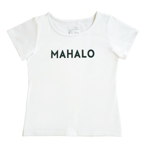 """【Sサイズ】半袖 白色 フラTシャツ """"MAHALO"""" 黒"""