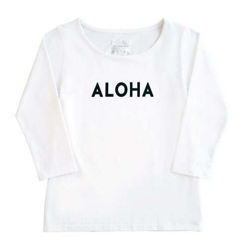 "【Sサイズ】七分袖 白色 フラTシャツ  ""ALOHA"" 黒"
