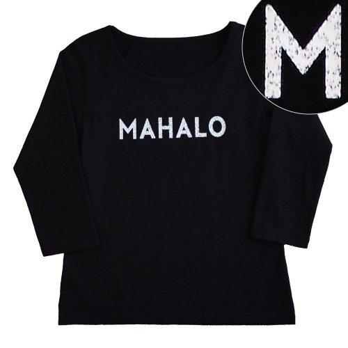 "【Sサイズ】七分袖 黒色 フラTシャツ ""MAHALO"" 白"