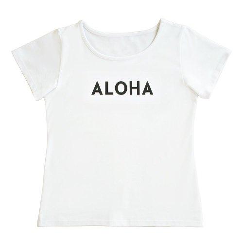 """【Mサイズ】半袖 白色 フラTシャツ """"ALOHA"""" 黒"""