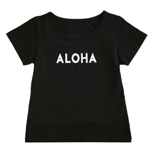"""【Mサイズ】半袖 黒色 フラTシャツ """"ALOHA"""" 白"""