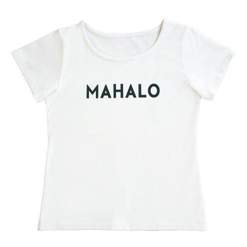 """【Mサイズ】半袖 白色 フラTシャツ """"MAHALO"""" 黒"""