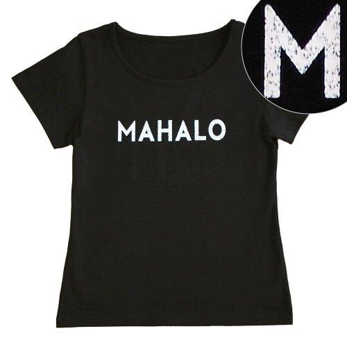 """【Mサイズ】半袖 黒色 フラTシャツ """"MAHALO"""" 白"""