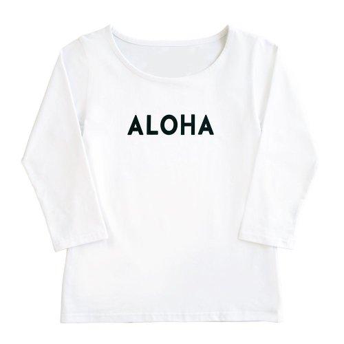 """【Mサイズ】七分袖 白色 フラTシャツ  """"ALOHA"""" 黒"""