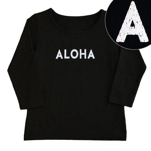 "【Mサイズ】七分袖 黒色 フラTシャツ ""ALOHA"" 白"