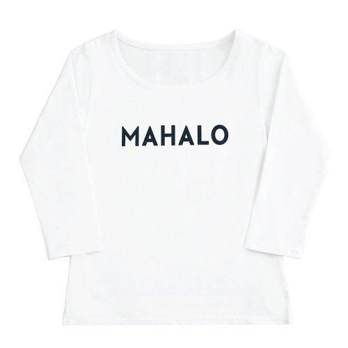"""【Mサイズ】七分袖 白色 フラTシャツ """"MAHALO"""" 黒"""