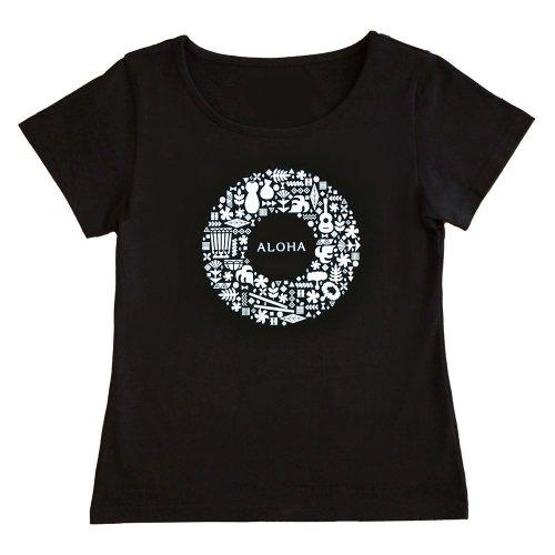 【Sサイズ】半袖 黒色 フラTシャツ ハワイアンリース柄(白)