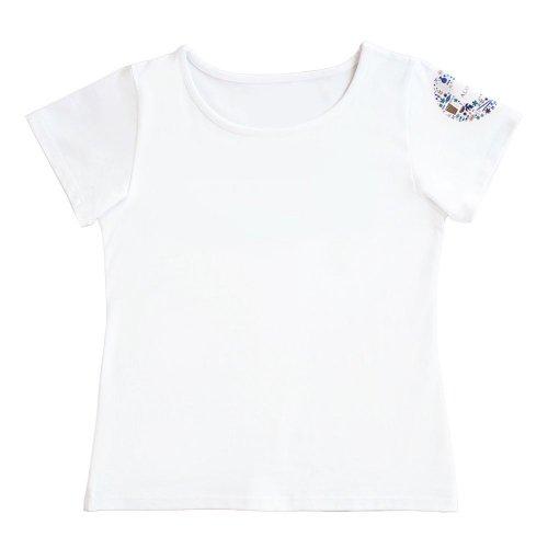 【Sサイズ】半袖 袖プリント 白色 フラTシャツ ハワイアンリース柄(ナチュラル)