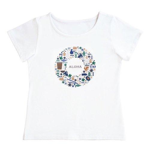 【Mサイズ】半袖 白色 フラTシャツ ハワイアンリース柄(ナチュラル)