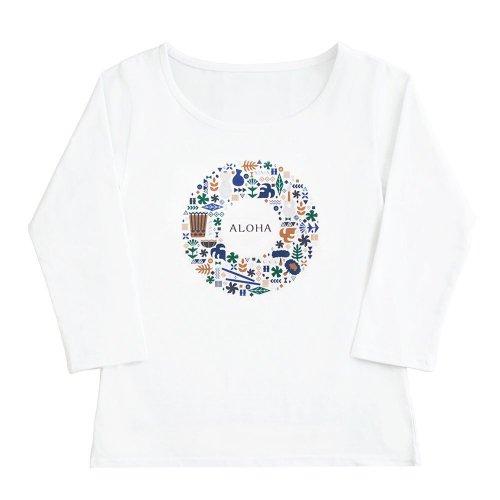 【2Lサイズ】七分袖 白色 フラTシャツ ハワイアンリース柄(ナチュラル)