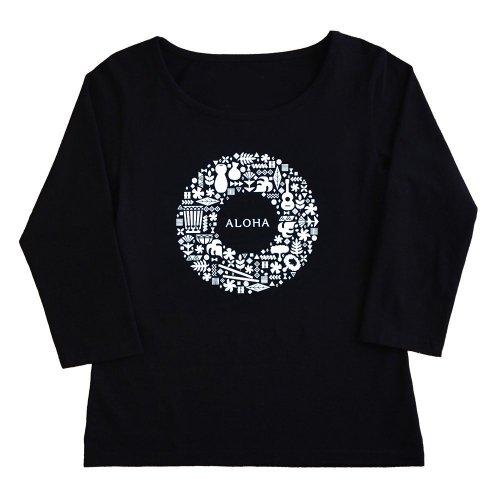 【2Lサイズ】七分袖 黒色 フラTシャツ ハワイアンリース柄(白)