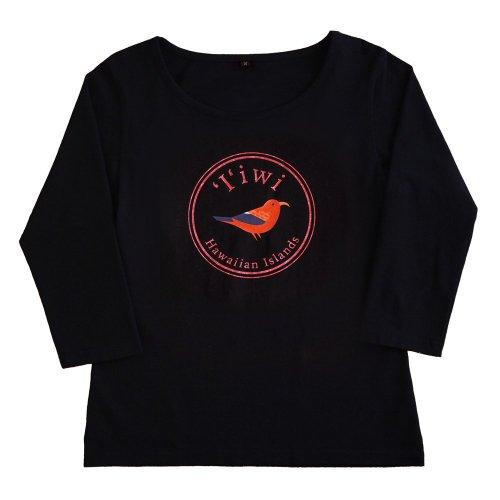 【Sサイズ】七分袖 黒色 フラTシャツ イイヴィ柄