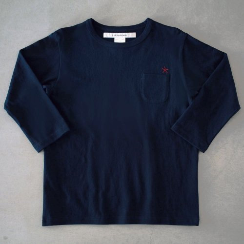 "T-shirt 7.8oz three-quarter sleeves navy ""hitode"" with pocket"