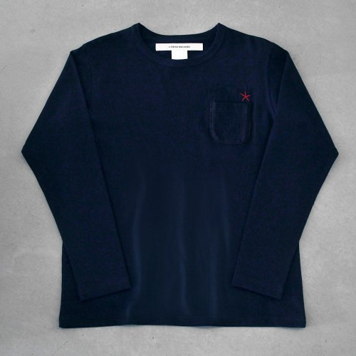 "T-shirt 7.8oz long sleeve navy ""hitode"" with pocket"