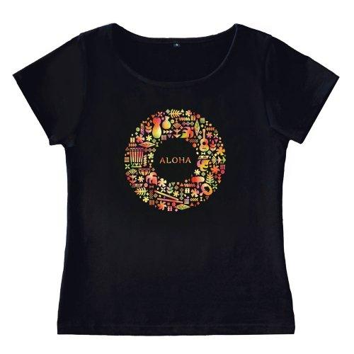 【Sサイズ】半袖 黒色 フラTシャツ ハワイアンリース柄 anuenue(アーヌエヌエ)