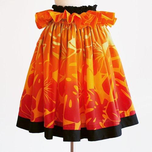 ブラック×オレンジ ウエストフリルパウスカート モンステラ ハイビスカス柄