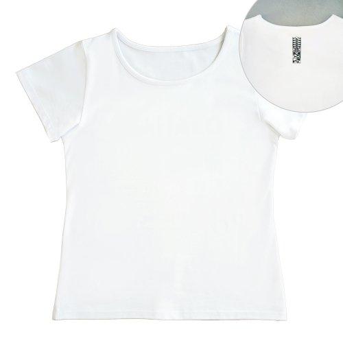 【Sサイズ】半袖 白色 フラTシャツ [フロント 無地 / バック ティキ]