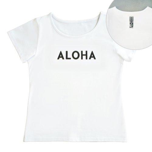 【Sサイズ】半袖 白色 フラTシャツ [フロント ALOHA / バック ティキ]