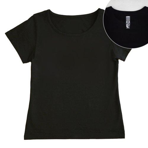 【Sサイズ】半袖 黒色 フラTシャツ [フロント 無地 / バック ティキ]