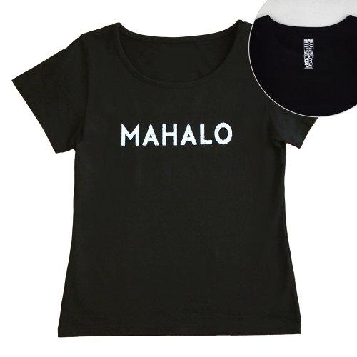 【Sサイズ】半袖 黒色 フラTシャツ [フロント MAHALO / バック ティキ]