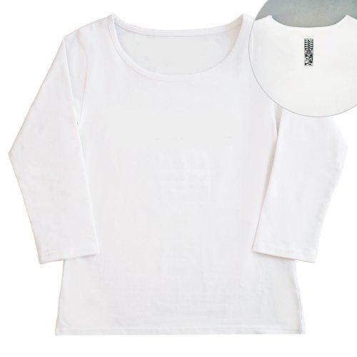 【Sサイズ】七分袖 白色 フラTシャツ [フロント 無地 / バック ティキ]