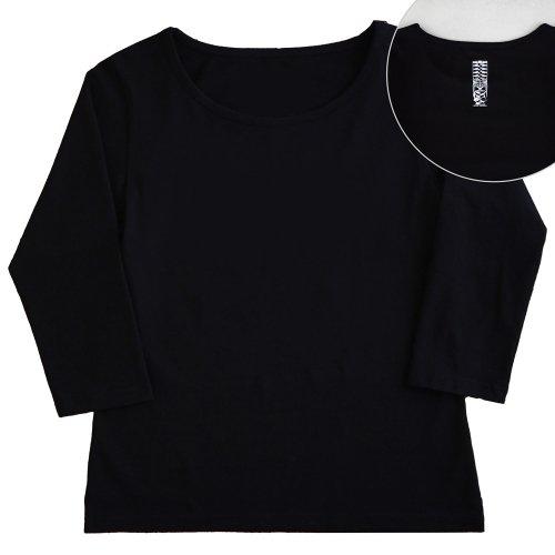 【Sサイズ】七分袖 黒色 フラTシャツ [フロント 無地 / バック ティキ]