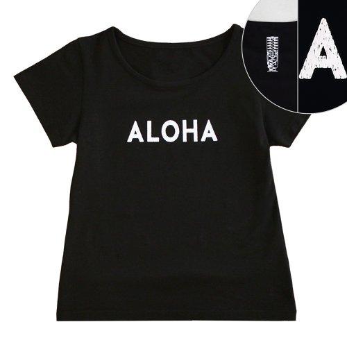 【Sサイズ】半袖 黒色 フラTシャツ [フロント ALOHA / バック ティキ]