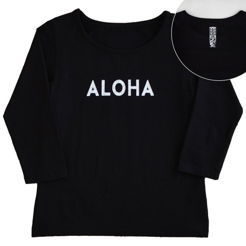 【Sサイズ】七分袖 黒色 フラTシャツ [フロント ALOHA / バック ティキ]