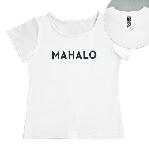 【Sサイズ】半袖 白色 フラTシャツ [フロント MAHALO / バック ティキ]