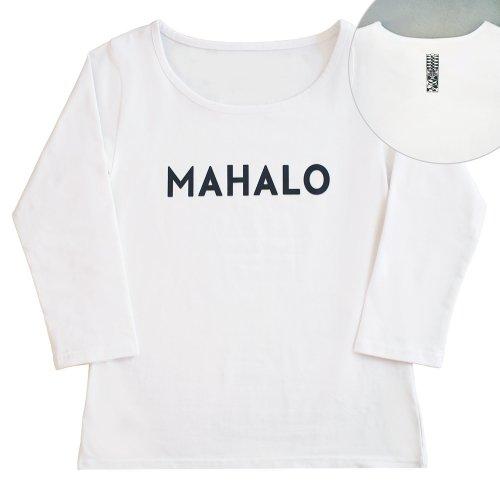 【Sサイズ】七分袖 白色 フラTシャツ [フロント MAHALO / バック ティキ]