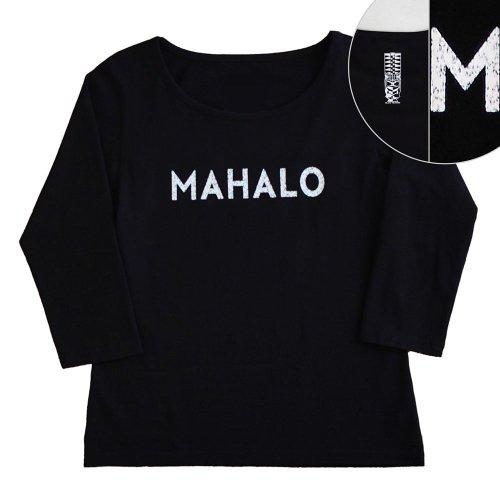 【Sサイズ】七分袖 黒色 フラTシャツ [フロント MAHALO / バック ティキ]