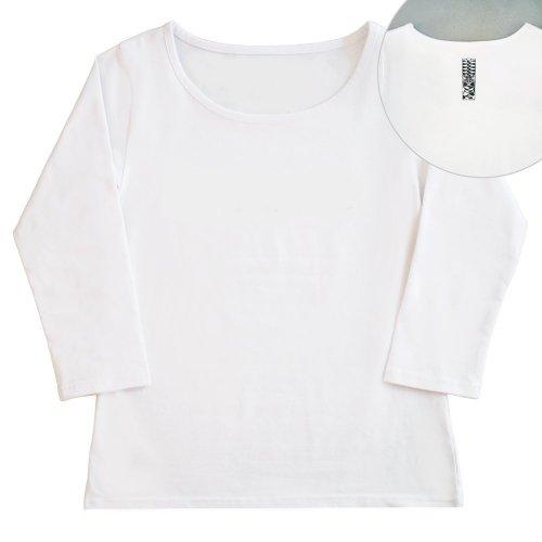 【Mサイズ】七分袖 白色 フラTシャツ [フロント 無地 / バック ティキ]