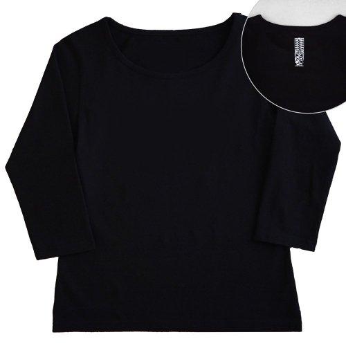 【2Lサイズ】七分袖 黒色 フラTシャツ [フロント 無地 / バック ティキ]