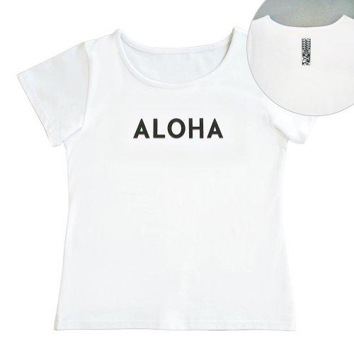 【Mサイズ】半袖 白色 フラTシャツ [フロント ALOHA / バック ティキ]