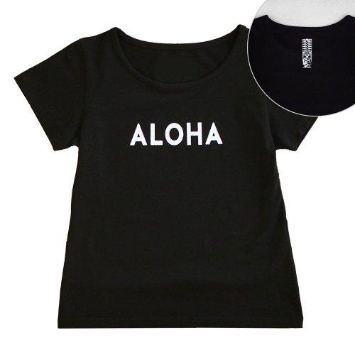 【Mサイズ】半袖 黒色 フラTシャツ [フロント ALOHA / バック ティキ]