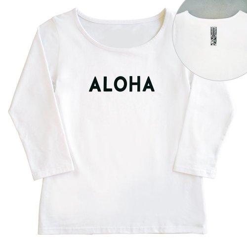 【Mサイズ】七分袖 白色 フラTシャツ [フロント ALOHA / バック ティキ]
