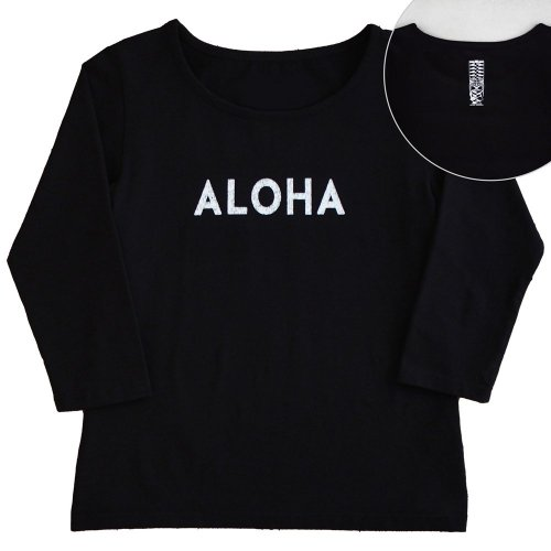 【Mサイズ】七分袖 黒色 フラTシャツ [フロント ALOHA / バック ティキ]