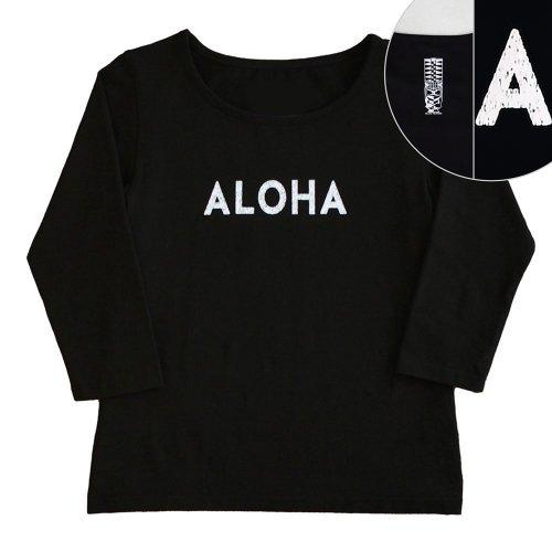 【2Lサイズ】七分袖 黒色 フラTシャツ [フロント ALOHA / バック ティキ]