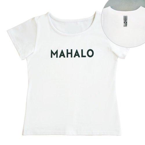 【Mサイズ】半袖 白色 フラTシャツ [フロント MAHALO / バック ティキ]
