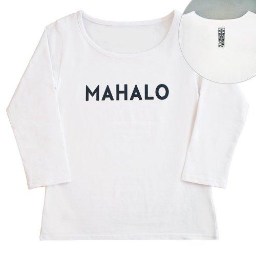 【Mサイズ】七分袖 白色 フラTシャツ [フロント MAHALO / バック ティキ]