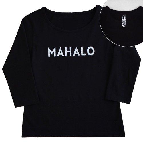 【2Lサイズ】七分袖 黒色 フラTシャツ [フロント MAHALO / バック ティキ]