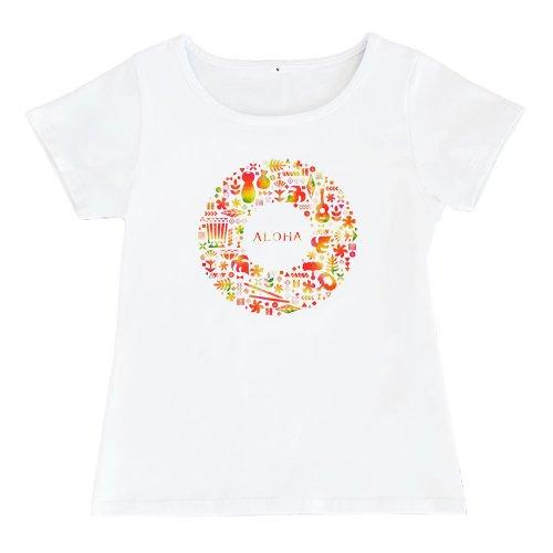 【Sサイズ】半袖 白色 フラTシャツ ハワイアンリース柄 anuenue(アーヌエヌエ)